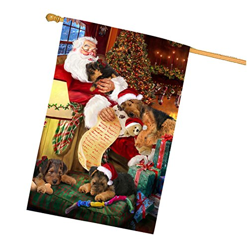 Airedale Dog and Puppies Sleeping with Santa House Flag - Airedale Puppy Dog