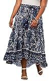 Roamans Women's Plus Size Border Print Skirt with High-Low Hem
