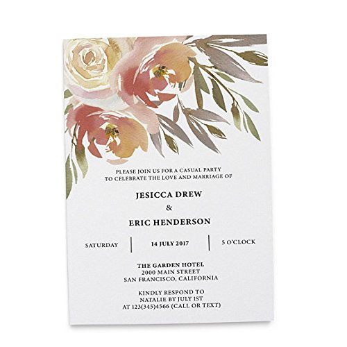Flat Card Wedding Announcement Invitation, Post Wedding Party Celebration, Marriage Announcement, Celebrate our Wedding Day, Gentle Watercolor Flowers, Customizable, Personalized, Set of 20 ()