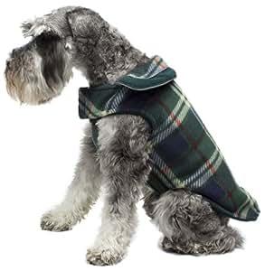 Legitimutt Reversible Plaid Fleece Dog Coat, Size 6, Hunter Green/Navy Blue