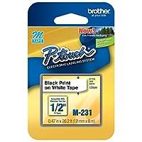 """Cinta original P-touch M-231 de Brother, cinta estándar P-touch de 1/2 """"(0.47""""), negro sobre blanco, para uso en interiores, resistente al agua, 26.2 pies (8M), paquete individual"""