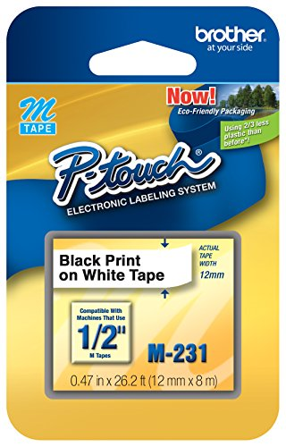 M231 1/2-Inch Black on White Tape for P-Touch Labeler