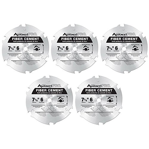 AvantiPro P0706CH 7-1/4-inch 6T Fiber Cement 5/8-inch Arbor Saw Blades, 5-Pack by Freud