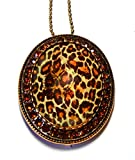 Leopard Glass Crystal Necklace Pin Jewelry
