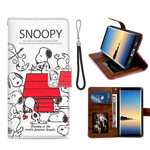DISNEY COLLECTION Compatible Samsung Galaxy S7 Wallet Phone Case Snoopy Wallpaper Drop Protection Premium PU Leather Folio Flip Cover Kickstand with ID&Credit Card Slot