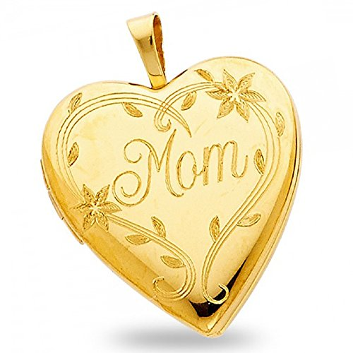 Solid 14k Yellow Gold Mom Heart Locket Pendant Engraved Charm Holds Pictures Genuine 20 x 20 mm