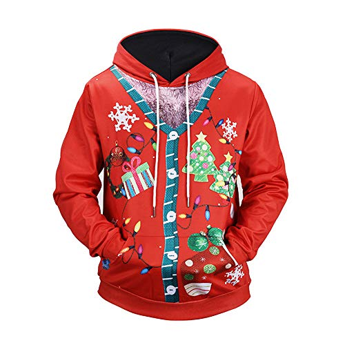 Christmas Pullover Mens Santa Claus 3D Printed Long Sleeve Hooded Sweatshirt Casual Tops Blouse ()
