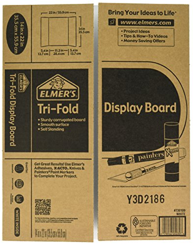 Elmers Display Board (Elmer's Tri-Fold Display Board, White, 14x22 Inch)