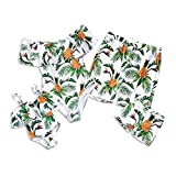 Yaffi Mommy and Me Swimsuit One Piece Pineapple Printed Family Matching Swimwear Men: M Green