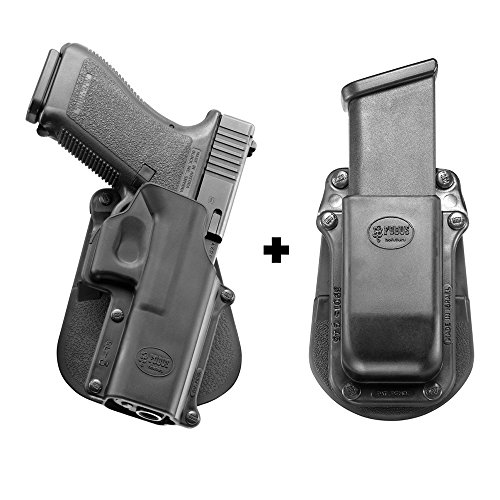 Fobus GL-3 Paddle Conceal Concealed Carry Black Holster Glock 20, 21, 21SF, 37, 41, ISSC M22 + Single Magazine Pouch - Fobus Gl3 Paddle Holster