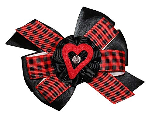 WD2U Girls Red Black Buffalo Plaid Open Heart Valentines Hair Bow Alligator Clip