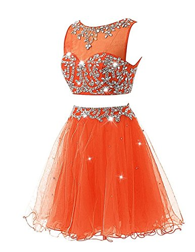 Orange Kleid Pieces Two Kurz Cocktail Beaded Women's Ballkleid Fanciest Abendkleider Party FTOgwg