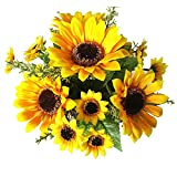 Bringsine Sunflowers Artificial Flowers Bouquet For Home Decoration Wedding Decor Real Touch Silk Flowers Bride Holding Flowers Floral Decors 2 Bunches of Flowers Per Pack