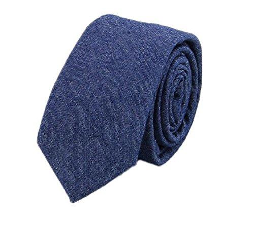 - Hello Tie Unisex Denim Skinny Necktie Cotton Narrow Tie-Blue