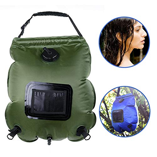 Dr.Taylor Premium Solar Shower Bag, 5 Gallons/20L Solar Heating Camping Bathing Bags, Up to 45°C Hot Water, Switchable Nozzle,Green