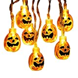 Brizled Halloween Lights, 30 LED 11.48ft 3D Pumpkin Lights Jack-O-Lantern Halloween String Light, Steady/Flashing Battery Pumpkin String Light for Halloween, Party and Christmas Decoration, Warm White