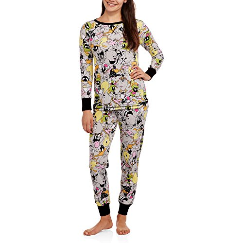 Bugs Bunny And Daffy Duck Costumes (Looney Tunes Bugs Bunny Porky Pig Tweey Sylvester Women's Pajamas (L (12-14)))