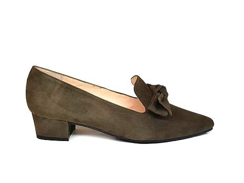Mocasines de Piel para Mujer con Lazo + Tacon Bajo 3 cm + Punta Cerrada Cuadrada: Amazon.es: Zapatos y complementos