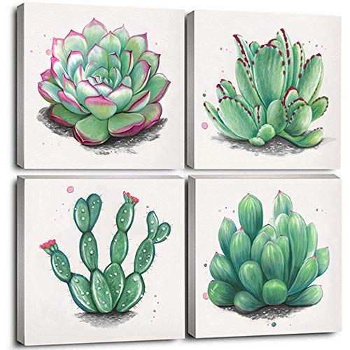 CANVASZON Wall Art Decor Succulent Cactus Decor Prints Art Green Leaf Framed Nature Pictures for Living Room Kitchen Decorations 12x12x4pcs (Nature Framed Picture)