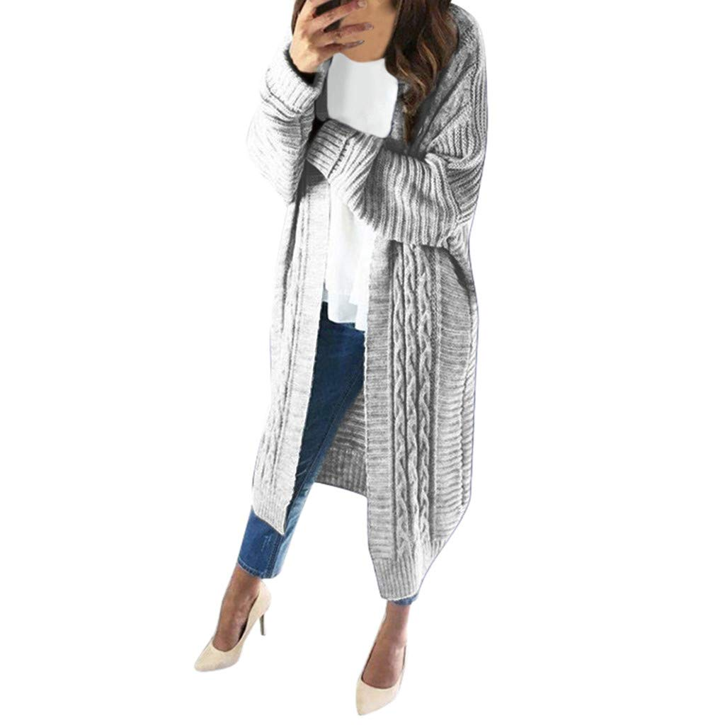 Dermanony Women Sweater Cardigan Pure Color Long Sleeved Lightweight Casual Knitted Coat Winter Warm Sweater Outwear Gray by Dermanony _Coat