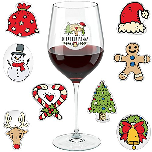 Christmas Wine Glass Drink Markers - Wine Charms Alternative - 18 Static Cling Reusable Stickers (Wine Ornaments Glass)