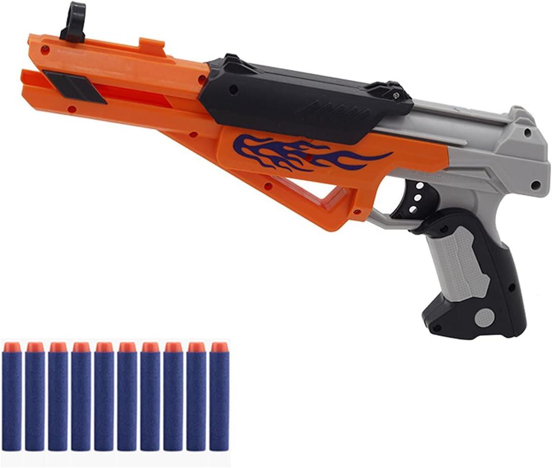XIAOKEKE Pistolas De Juguete para Niños, Pistolas De Ondas De Choque, Juguetes para Niños De 3 A 8 Años, Pistolas De Balas De Espuma con 10 Dardos De Peluche, Pistola De Juguete Niños