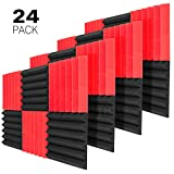 JBER 24 Pack Red/Charcoal Acoustic Panels Studio Foam Wedges Fireproof Soundproof Padding Wall...