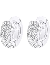 Valentines Day Gift Round Cut White Natural Diamond Huggie Hoop Earrings In 14k Solid Gold (0.62 cttw)