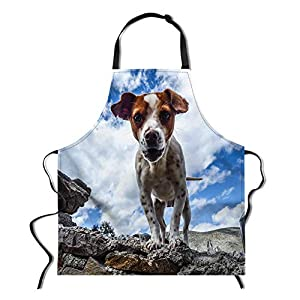 "WHEREISART Cute Aprons,Adjustable Bib Apron,Durable Comfortable Unique Apron for Cooking, Baking,Basic Apron Crafting,26.3""X29.5""Jack Russell Terrier 1"