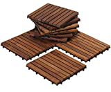 concrete floor tiles Bare Decor EZ-Floor Interlocking Flooring Tiles in Solid Teak Wood (Set of 10), Long 9 Slat