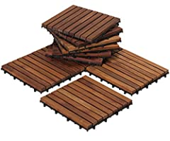 The EZ-Floor interlocking flooring tiles come in a oiled finish in a solid teak wood. No glue or tools are required - just snap the interlocking tiles together. Can be used for indoor or outdoor settings. Perfect for a entryway, mudroom, deck...
