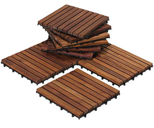 Bare Decor EZ-Floor Interlocking Flooring Tiles in Solid Teak Wood Oiled Finish (Set of 10), Long 9 Slat