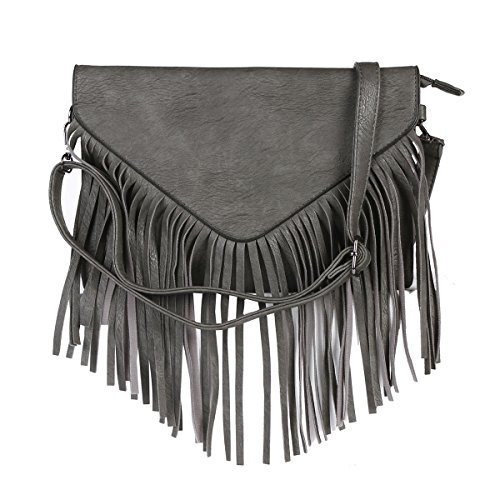 Womens Grey Faux Leather Damara Tassels Triangle Crossbody Bag Flap 1dWvUCS7Uq