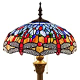 Tiffany Style Floor Standing Lamp 64 Inch Tall Blue Orange Stained Glass Shade Crystal Bead Dragonfly 2 Light Pull Chain Antique Base for Living Room Bedroom Coffee Table S688WERFACTORY