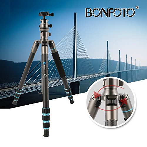 BONFOTO B674C Camera Carbon Fiber Travel Tripod Lightweight Heavy Duty Portable With 1/4'' Quick Release Plate 360 Degree Ball Head And Carry Case For Canon, Sony, Nikon, DSLR Cameras by BONFOTO (Image #6)