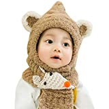 Adorable Infant Baby Girl Boy Knitted Hat Fineser Children Winter Lovely Cartoon Ears Soft Hat+Fox Pattern Scarf Sets (Coffee)