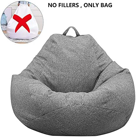 Librao Bean Bag Chair Sofa Cover No Filler , Lazy Lounger High Back Large Bean Bag Storage Chair Cover Sack for Adults and Kids Without Filling Dark Gray, XL