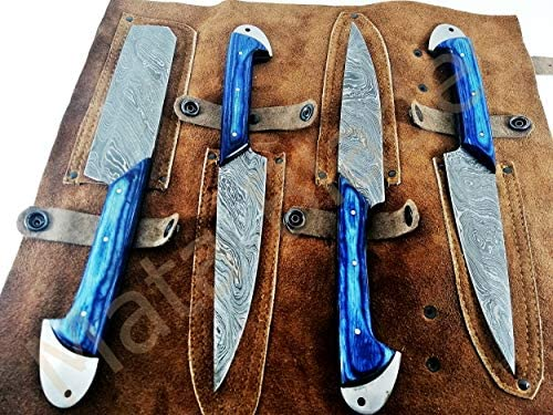 MATA BLADES Fixed Blade 4-PCS Set Handmade Custom Blue Wood Damascus Knife