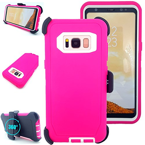Galaxy S8 Plus Case with Kickstand,Vodico Heavy Duty Tough Armor Hybrid TPU Hard Bumper Stand Case with Belt Clip Holster Without Screen Protector for Samsung Galaxy S8+ Plus (Hot Pink White)