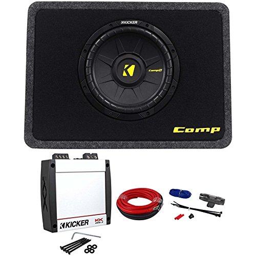 Kicker 40TCWS104 CompS 10 Subwoofer+Slim Box +Kicker Amplifier+Kicker Amp Kit
