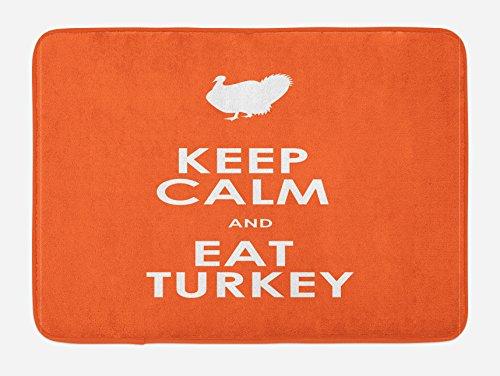 "Lunarable Thanksgiving Bath Mat, Keep Calm and Eat Turkey Humorous Words Traditional Celebration Phrase, Plush Bathroom Decor Mat with Non Slip Backing, 29.5"" X 17.5"", White Orange"