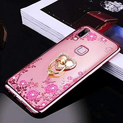 promo code 67127 a048d Loxxo® Back Cover for Redmi 6 Pro Bling Shiny Diamond Rhinestone with 360  Degree Rotating Heart Ring Stand TPU Case Cover for Redmi 6 Pro (Rose Gold)