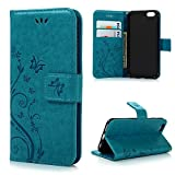 iPhone 6, iPhone 6S Wallet Case 4.7 Inch-(NOT FOR iPhone 6/6S Plus) MOLLYCOOCLE Blue PU Leather Wallet Purse Credit Card Holders Magnetic Flip Folio TPU Soft Bumper Ultra Slim Cover for iPhone 6/6S Reviews