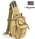 BX warehouseOutdoor Tactical Shoulder Backpack(+flag patch), Military & Sport Bag Pack Daypack for Camping, Hiking, Trekking, Rover Sling,chest bag