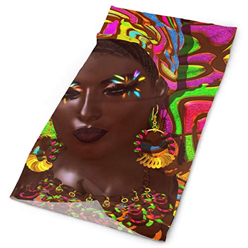 Headband African Woman With Colourful Eyeshadow Outdoor Scarf Mask Neck Gaiter Head Wrap Sweatband Sports Headwear