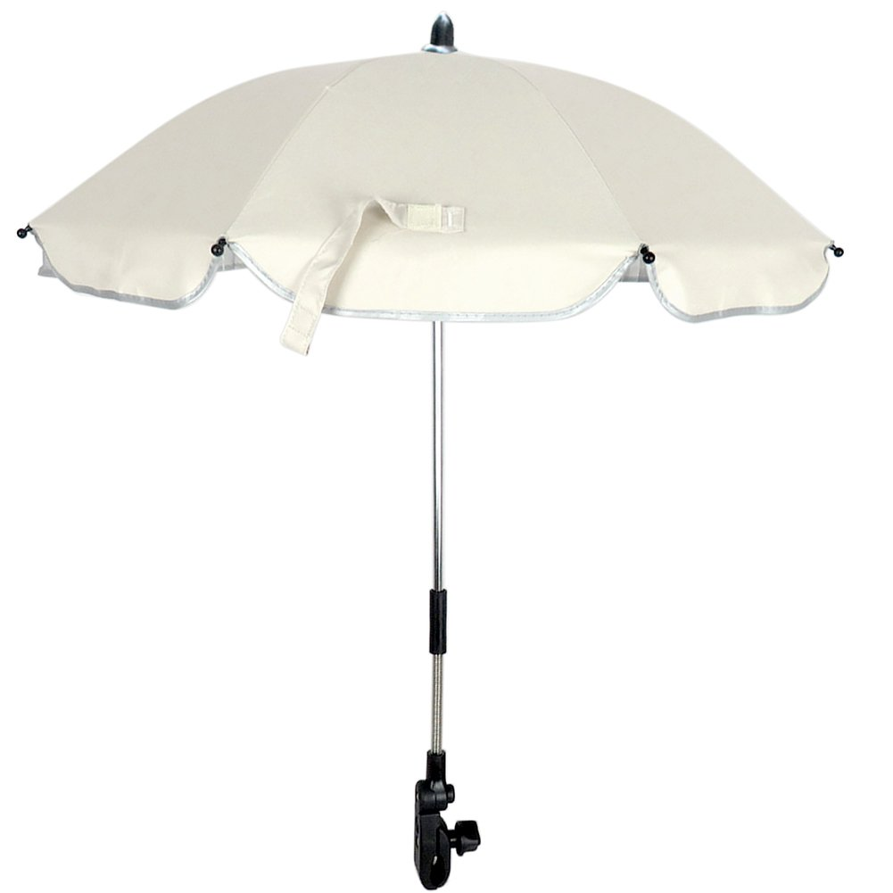 RoseSummer Pushchair Baby Stroller Umbrella and Holder UV Rays Rain Sun Canopy (White)