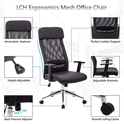 KADIRYA Extra High Back Mesh Office Chair - Computer Desk Task Chair with Padded Leather Removeable Headrest and Seat,Adjustable Armrest, Ergonomic Design for Back Lumbar Support, Black (Black) Photo #7