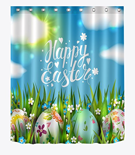 LB Happy Easter Shower Curtain Colorful Eggs Flowers in Grass Artwork Spring Festival Shower Curtains for Bathroom,Waterproof Fabric 60x72 Inch with Hooks