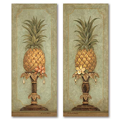(Gango Home Decor Pineapple and Pearls; Two Beautiful Tropical Still Life Prints (8x20in))