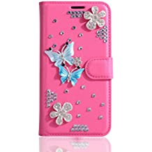 """Alcatel A3 XL Case,Gift_Source [Card Slots] Luxury Bling Glitter Diamond PU Leather Purse Flip Stand Cover Sparkle Crystal Rhinestone Wallet Phone Case for Alcatel A3 XL (6.0"""") [Butterfly couple]"""